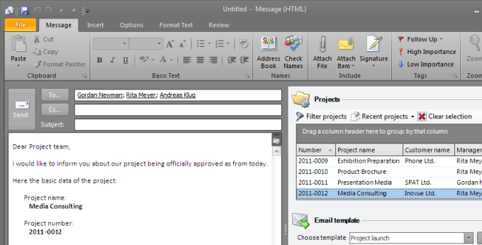 E-mail Templates and Predefined Text Modules